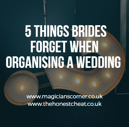 5 things brides forget when organising a wedding/